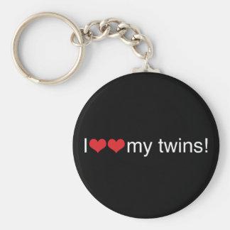 I corazón mis gemelos llavero redondo tipo pin