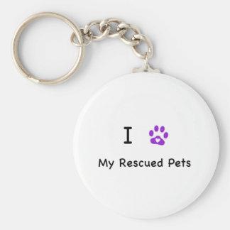 I corazón mis mascotas rescatados llavero redondo tipo pin