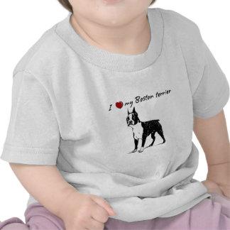 """¡i """"corazón"""" mis palabras de Boston Terrier con el Camiseta"""