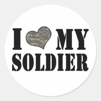 I corazón mis pegatinas del soldado pegatina redonda