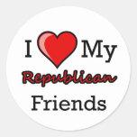 I corazón mis pegatinas republicanos de los amigos pegatinas redondas