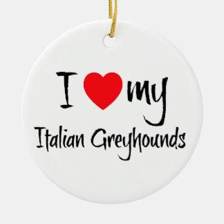 I corazón mis perros del galgo italiano adorno navideño redondo de cerámica