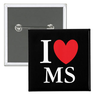 I corazón Mississippi Pin Cuadrada 5 Cm