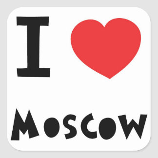 I corazón Moscú Pegatina Cuadrada