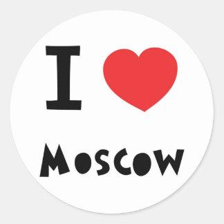 I corazón Moscú Pegatina Redonda