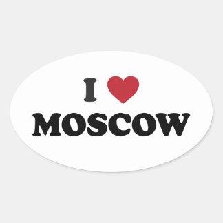 I corazón Moscú Rusia Pegatina Ovalada