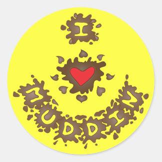 I corazón Muddin Pegatina Redonda