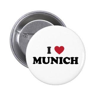 I corazón Munich Alemania Pin Redondo De 2 Pulgadas