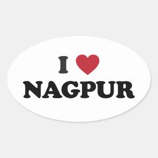 I corazón Nagpurla India Pegatina Ovalada