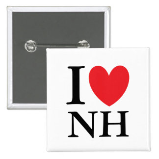 I corazón New Hampshire Pin Cuadrado