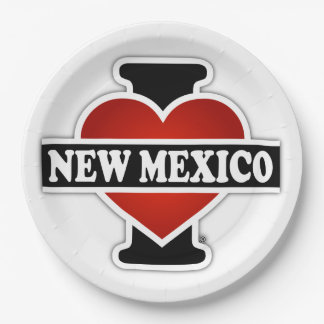 I corazón New México Plato De Papel De 9 Pulgadas