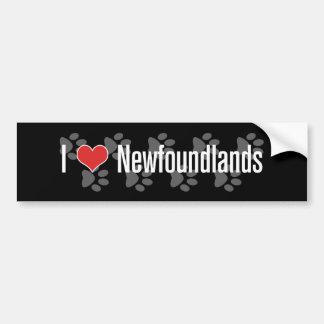 I (corazón) Newfoundlands Pegatina Para Auto