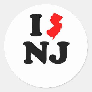 I corazón NJ Pegatinas Redondas