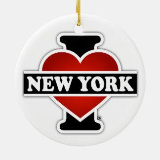 I corazón Nueva York Adorno Navideño Redondo De Cerámica