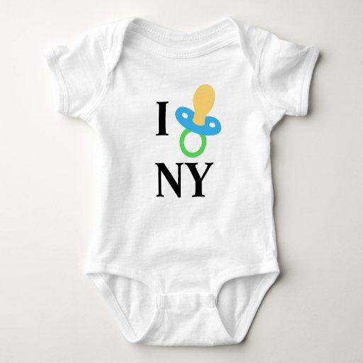I corazón NY - pacificador del bebé Playeras