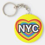 I corazón NYC. Amo NYC. Hea del arco iris de New Y Llaveros Personalizados