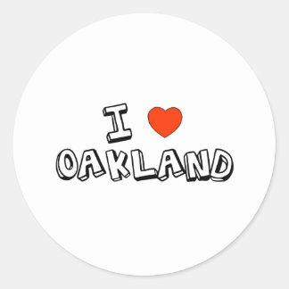I corazón Oakland Pegatina Redonda