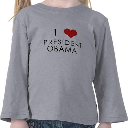 i corazón obama, manga larga de los niños camisetas