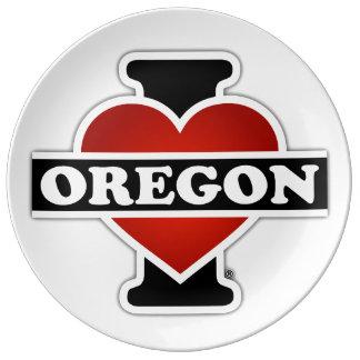 I corazón Oregon Plato De Cerámica