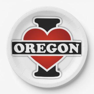 I corazón Oregon Platos De Papel