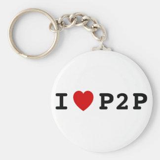 I corazón P2P Llavero Redondo Tipo Pin