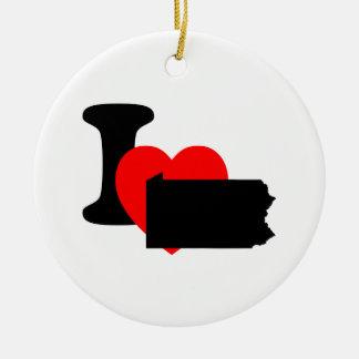 I corazón Pennsylvania Adorno Navideño Redondo De Cerámica