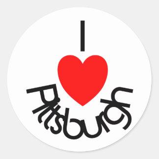 I corazón Pittsburgh Etiquetas Redondas