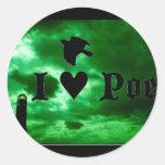 I corazón Poe Pegatina Redonda