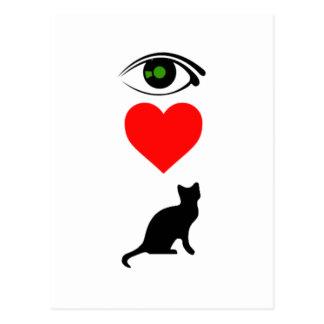 I corazón Pussy_Cat Tarjetas Postales