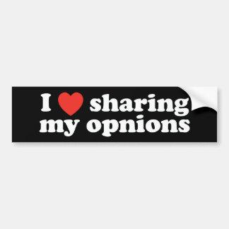 I corazón que comparte mis opiniones pegatina para auto