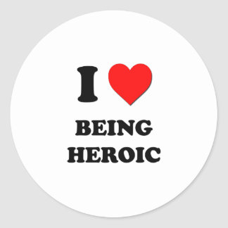 I corazón que es heroico pegatinas redondas