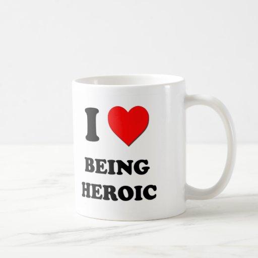 I corazón que es heroico taza de café