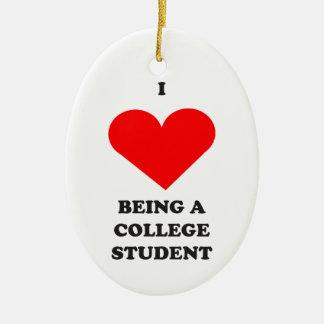¡I CORAZÓN que es un estudiante universitario! Adorno Navideño Ovalado De Cerámica
