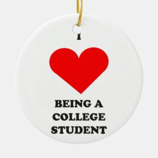 ¡I CORAZÓN que es un estudiante universitario! Adorno Navideño Redondo De Cerámica