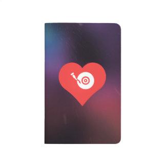 I corazón que escucha el icono del tocadiscos cuaderno