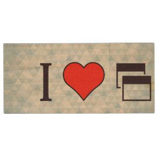I corazón que se oirá memoria USB 2.0 de madera