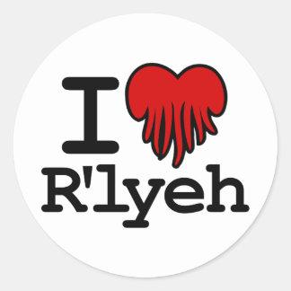 I corazón R lyeh Etiquetas Redondas