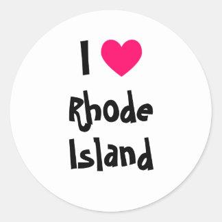 I corazón Rhode Island Etiquetas Redondas