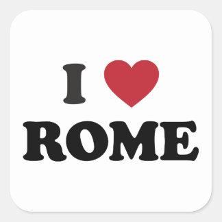 I corazón Roma Italia Calcomanías Cuadradass