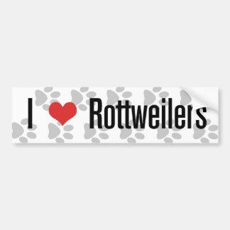 I (corazón) Rottweilers Etiqueta De Parachoque