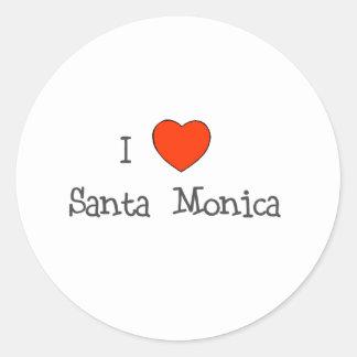 I corazón Santa Mónica Pegatina Redonda
