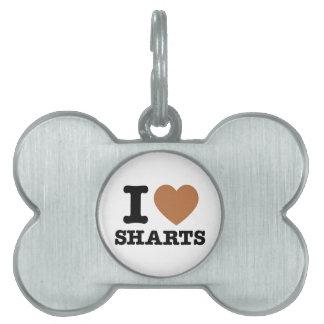 I corazón Sharts Placa De Mascota
