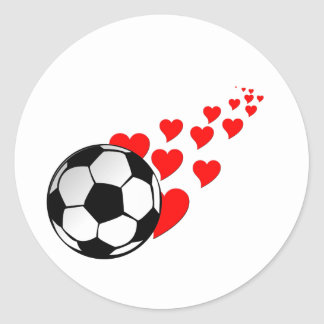I corazón soccer2 pegatina redonda