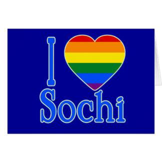 I corazón Sochi con el corazón del arco iris Tarjeta De Felicitación