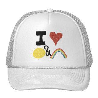 I corazón Sunshines y arco iris Gorra