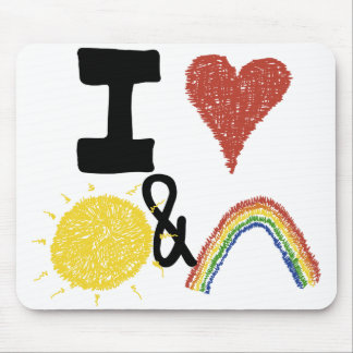 I corazón Sunshines y arco iris Mouse Pad