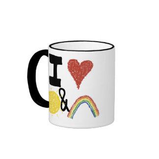 I corazón Sunshines y arco iris Taza De Dos Colores