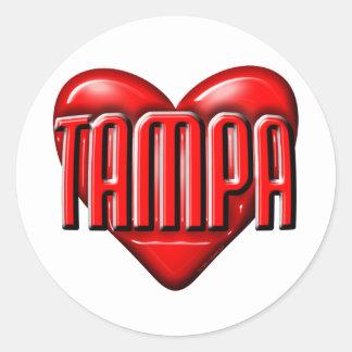 I corazón Tampa Pegatina Redonda