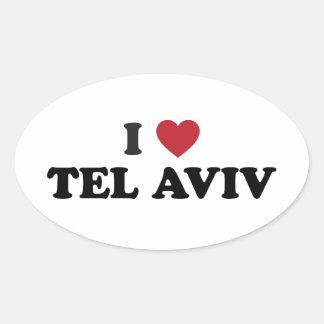 I corazón Tel Aviv Israel Pegatina Ovalada
