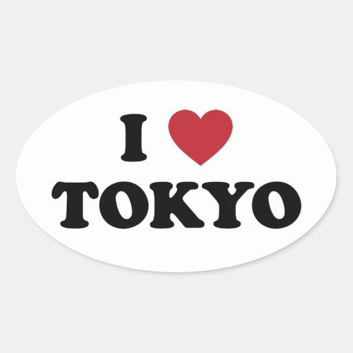 I corazón Tokio Japón Pegatina Ovalada